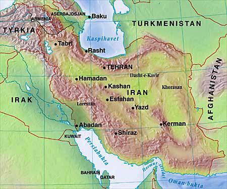 Kart over Iran: Geir Tandberg Steigan